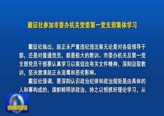 戴征社参加市委办机关党委第一党支部集体学习